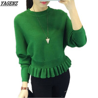 YAGENZ 6 Colors Autumn Winter New Knitted Sweater Women Bat Sleeves Solid Color Pullovers Sweater Student