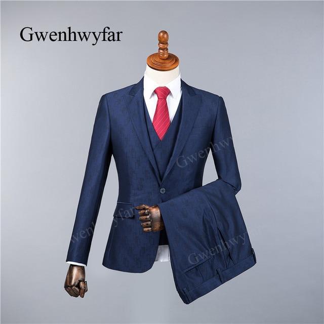 Gwenhwyfar Unique Geometric Printed Dark Blue Men Suit 3 Pieces Tuxedo Grooms Wedding Suits For