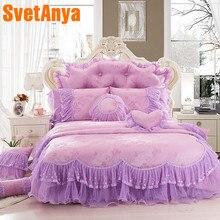 Svetanya стиль принцессы кружева постельного белья 4 шт./8 шт. хлопок постельное белье queen King size пододеяльник + покрывало + наволочки