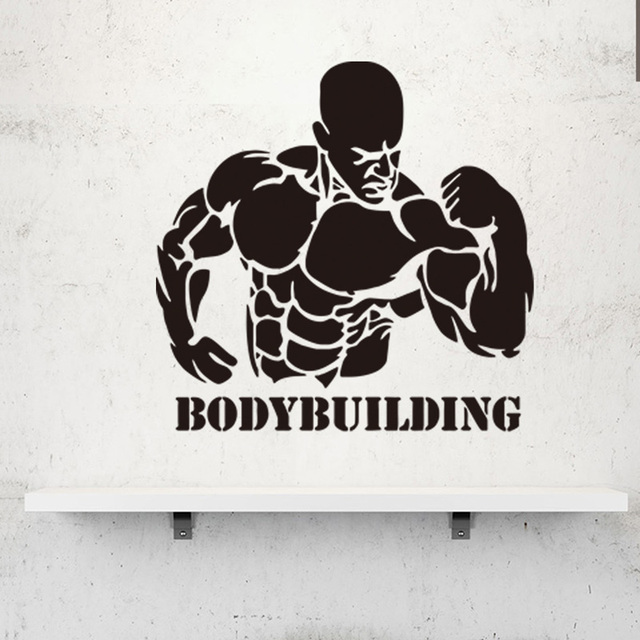 US $3 99 18% OFF Muscular man/BodyBuilding Wall Sticker for Fitness  exercise Gym poster decoration Mural Art Decals wallpaper home decor  stickers-in
