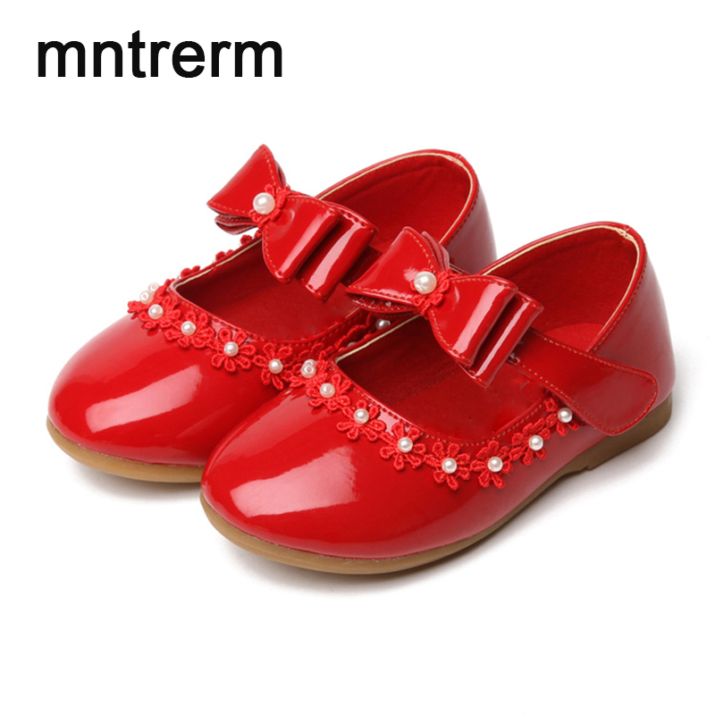 2017 The New Hot Sale School Shoes Kids Bow Flower Girls Princess Party Shoes Performance Small White Leather School Shoes