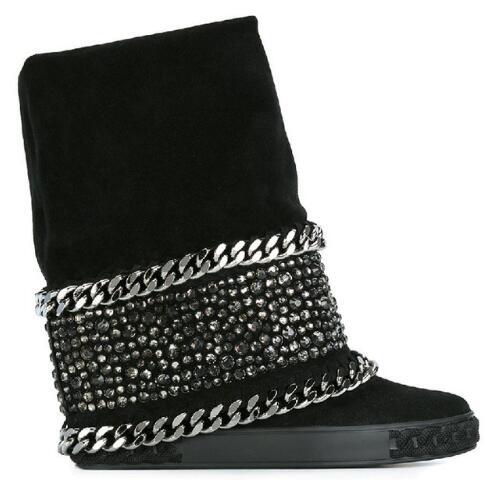 Mujeres Zapatos Altas Cuñas Plataforma De 80mm Botas Aumento Picture Picture Las Cadena Rodilla Altura Cristal as Cuero Gamuza Invierno As Genuino wIFBvxq