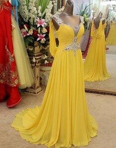 Image 2 - Charmant Geel Chiffon Bruidsmeisje Jurken 2020 Backless Crystal Frezen Wedding Party Dress Bruidsmeisje Formele Gowns V hals