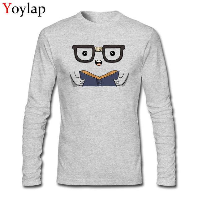1aa27469 Online Shop Funny Design Nerdy Book Club Top Tee Shirt Cartoon Print Men's  Cotton T-shirts Long Sleeve Crew Neck | Aliexpress Mobile
