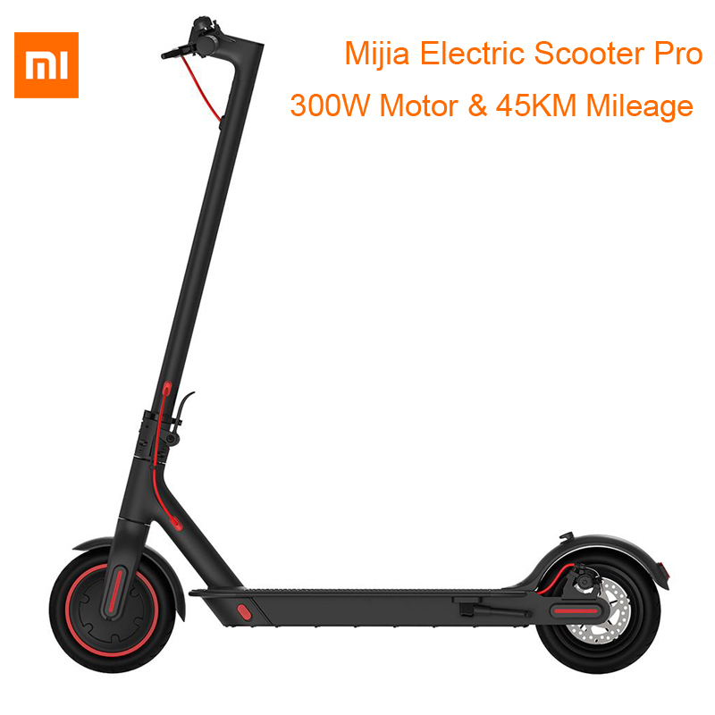 Xiaomi Mijia Folding Electric Scooter Pro 300W Motor max load 100kg 8.5 Inch Tire 45KM Mileage Range Double Brake System