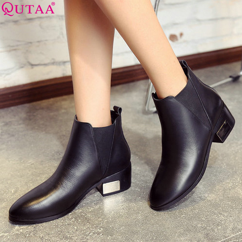 ФОТО QUTAA Slip On Western Style Women Shoes Genuine leather Square High Heel Ankle Boots Women Motorcycle Boots Size 34-39