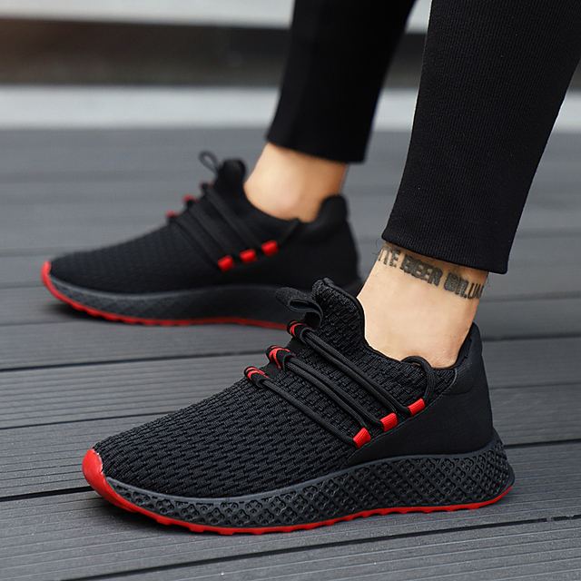 Male Breathable Comfortable Sport Shoes Men Running  Shoes Lace Up Wear-resistant Men Sneakers 2019 New Athletic Shoes