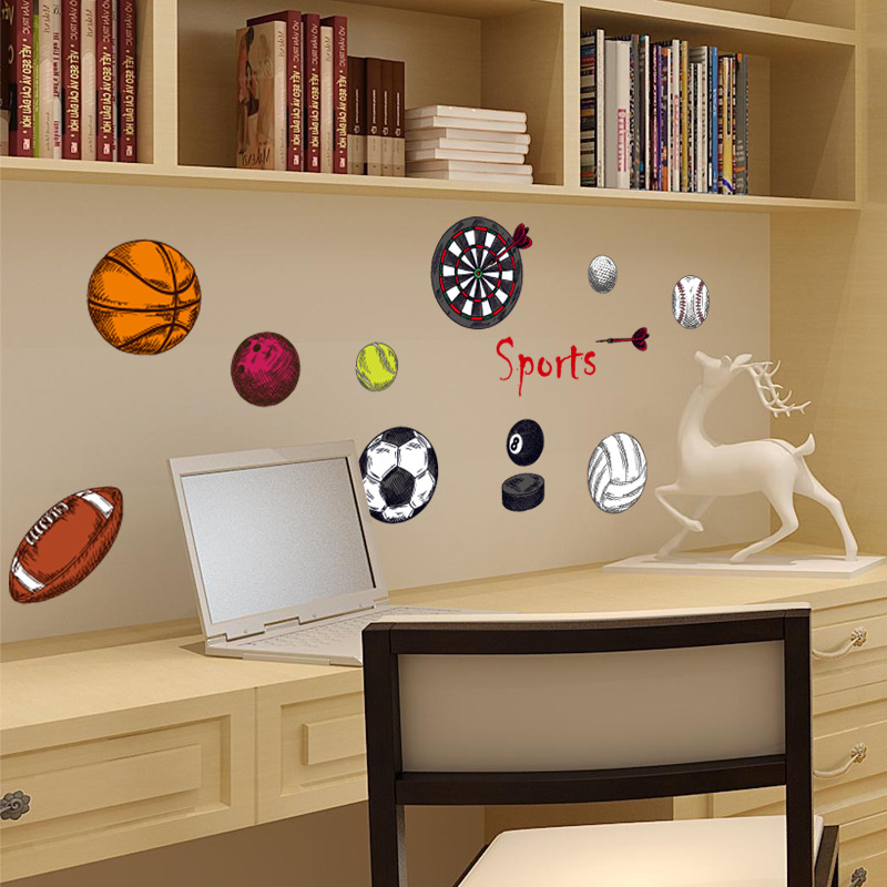 Sk7095 Vivid 3d Football Baseball Basketball Cartoon Home Decals Scoccer Home Decor For Kid Room Sports