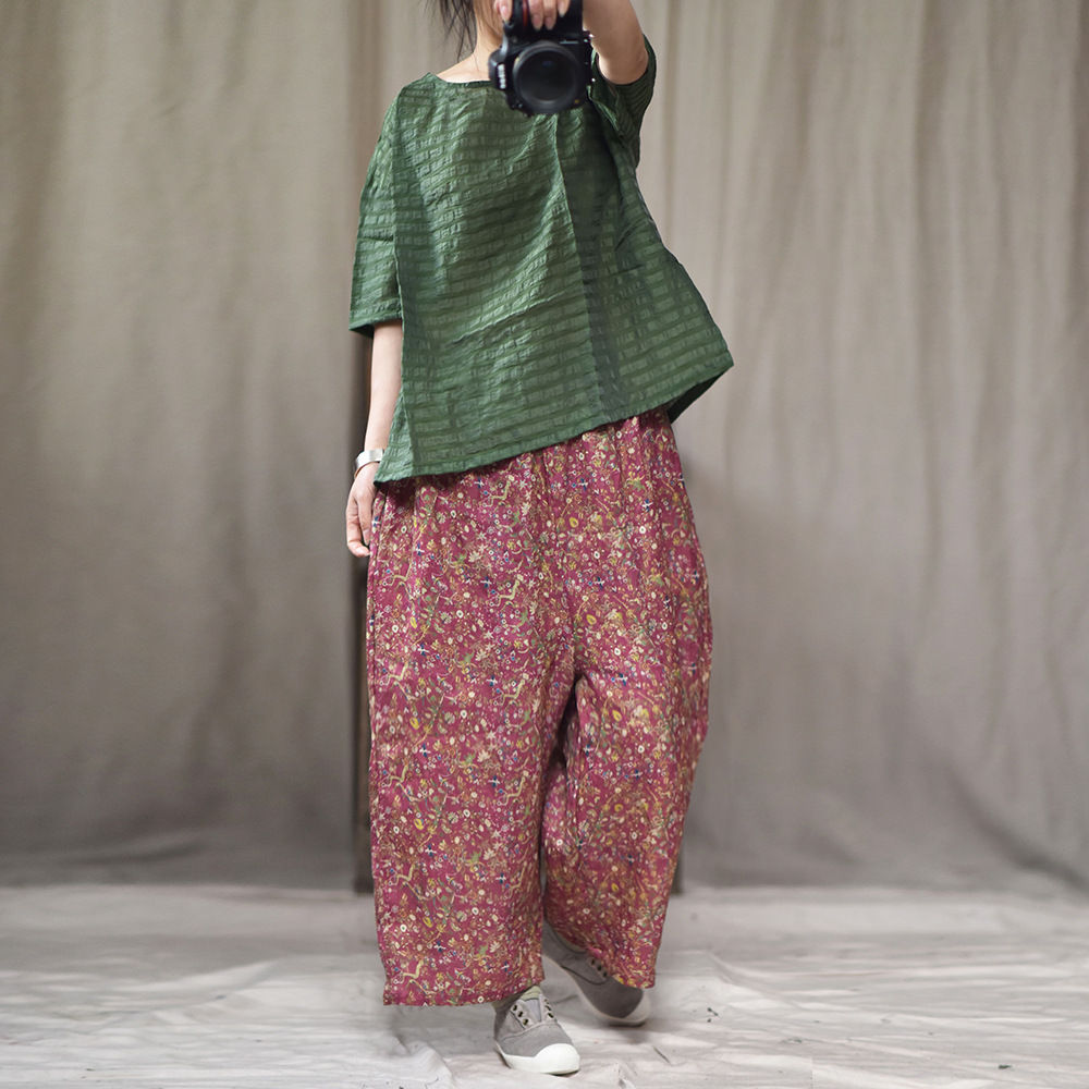 Women Print Floral Cotton Linen Pants Big Size 2019 Spring Summer Wide legged Elastic Waist Loose