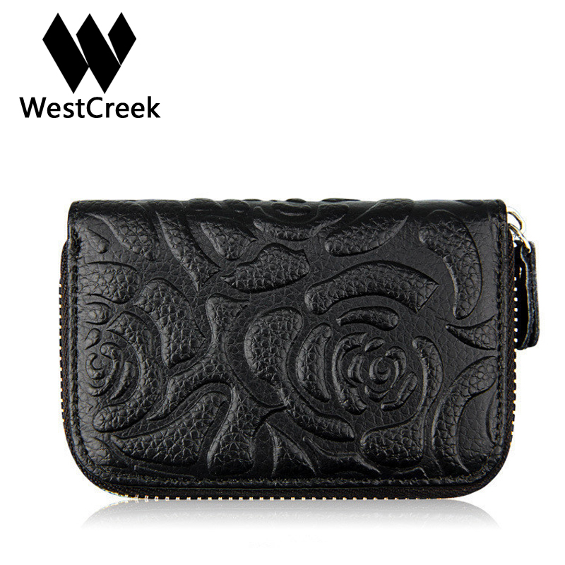 Westcreek Brand Floral Cow Leather Credit Card Holder Flower Printing Rose Pillow Card Holder Fashionable Card Wallet