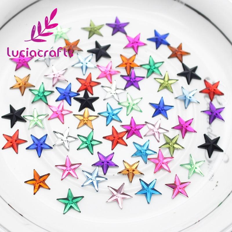 Lucia crafts 200 шт./лот 12 мм в форме звезды плоская подставка из горного хрусталя кабошон поставка украшения DIY аксессуары ручной работы G0405