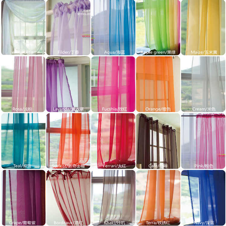 European and American style curtains for living room white Window Screening Solid Door Curtains Drape Panel Sheer Tulle