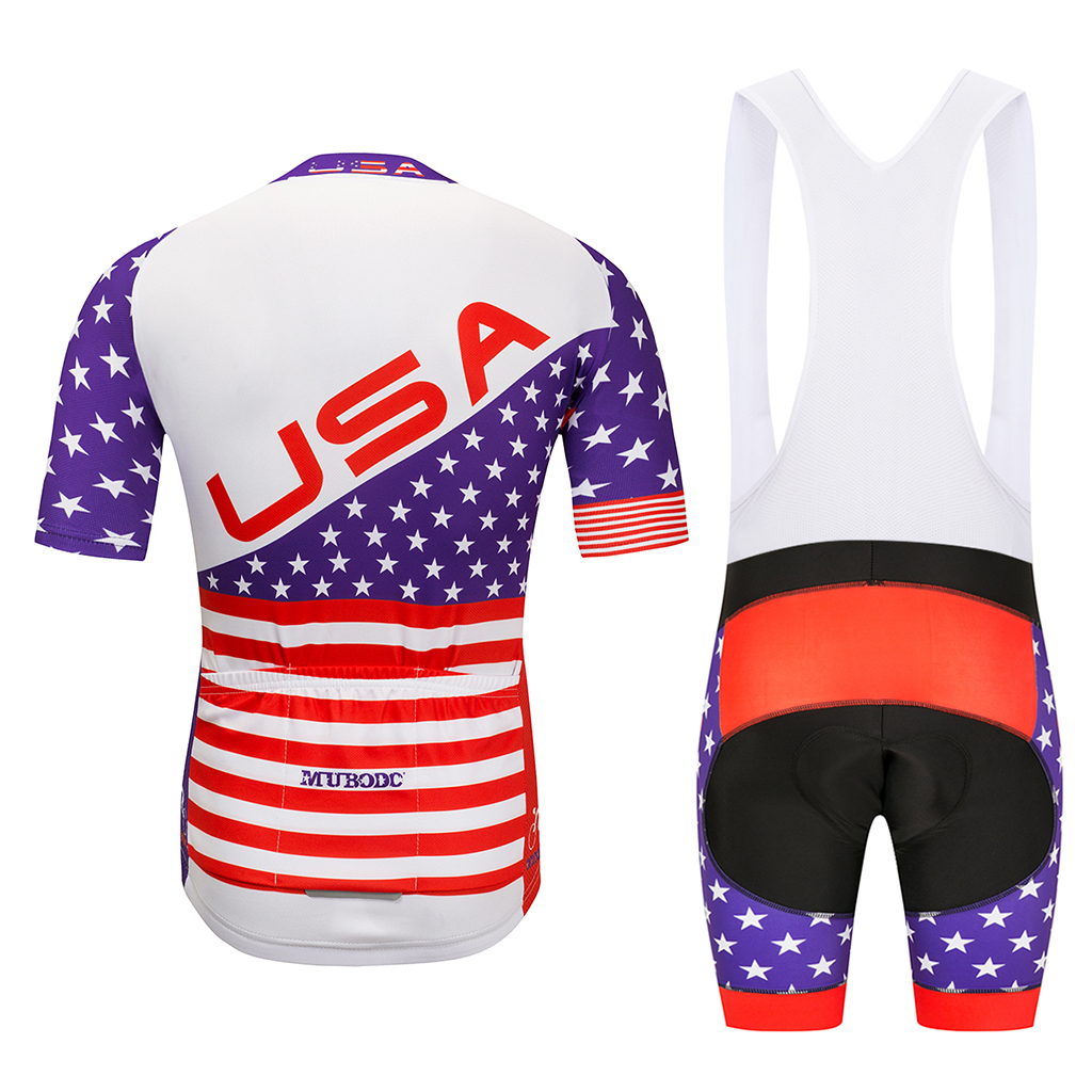 MUBODO Mens Cycling jersey set USA National MTB Bicycle Shirts Mountain Bike Clothing Summer Cool Sportswear Short Sleeve