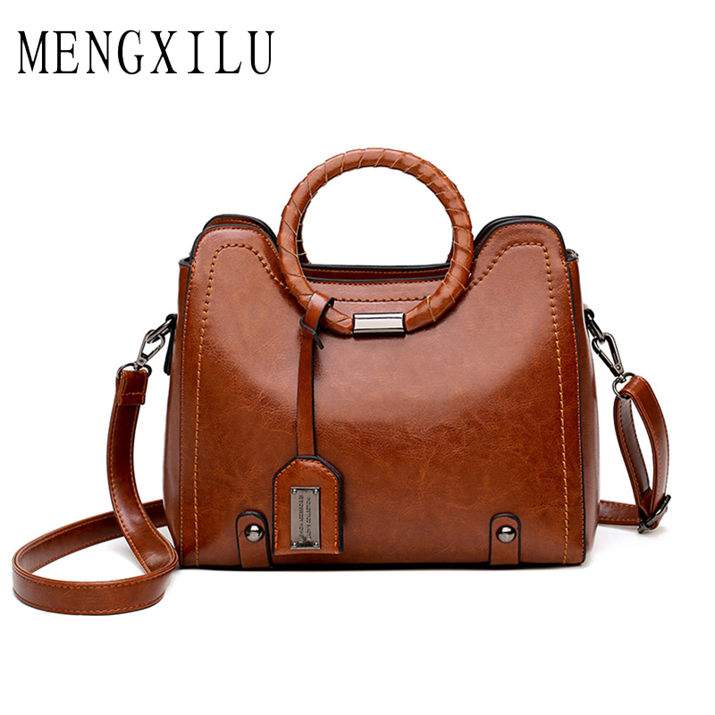 MENGXILU Fashion Tassel Leather Women Handbag Lady Hobos Bag Patchwork Shoulder Bags Women Large Capacity Sac A Main 2018 New gete new python leather women handbag lady real snake dinner women purse large capacity grab bag girl women cluth bag wallet