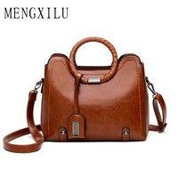 MENGXILU Fashion Tassel Leather Women Handbag Lady Hobos Bag Patchwork Shoulder Bags Women Large Capacity Sac