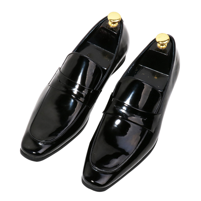 Best selling European style retro square toe flat shoes black patent leather  slip on oxfords men s party dress shoes groom flats 6cee20cb44e2