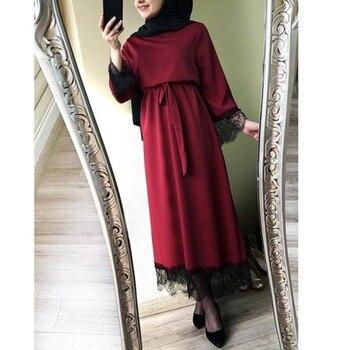 Vestido de Ramadán para Mujer, vestido largo musulmán de Dubái Abaya del 2019, vestido caftán de encaje, ropa islámica marroquí, vestido turco de Omán para Mujer