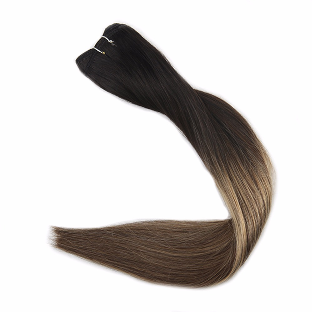 Full Shine Hair Weft Hair Bundles Ombre Color 1B Off Black Fading To 6 And 27