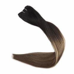 Полный блеск волос Уток пучки волос Омбре цвет # 1B от черного выцветания до 6 и 27 мёд блонд 100 г remy волосы наращивания волос уток