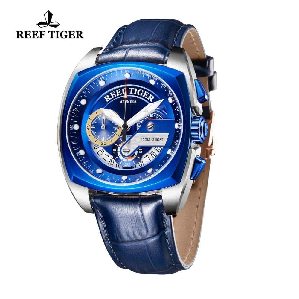 Reloj deportivo de marca 2019 Reef Tiger/RT para hombre, relojes azules de lujo, correa de cuero, reloj impermeable, reloj Masculino RGA3363