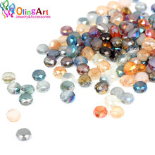 OlingArt AAA 6mm 70pcs Faceted Bread Crystal Glass Beads Mixed multicolor Spacer Bead DIY women choker necklace jewelry making