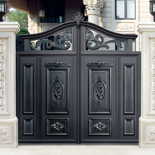 Simple Design Black Villa Outside Gate Flowers Carving