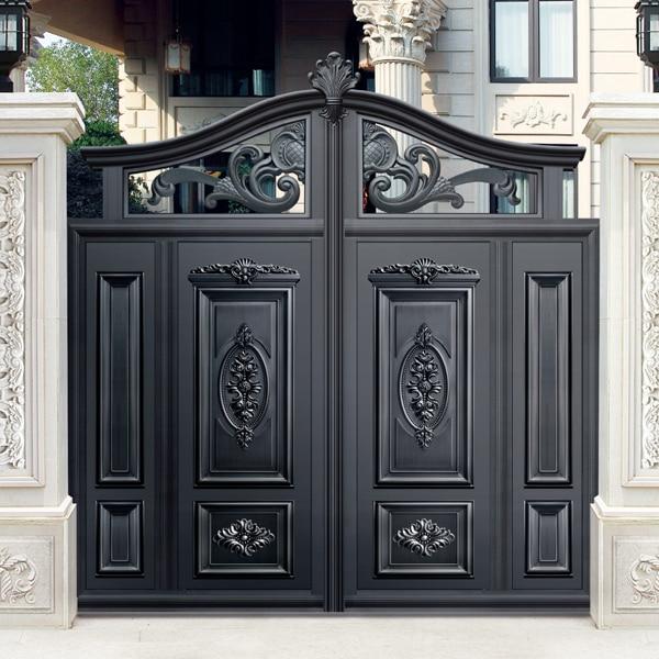 simple design black villa outside gate, flowers carving ...