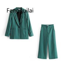Vintage Chic Green Striped Pant Suits Fashion Pockets Single Button Notched Blazer Zipper Fly Straight Long Pants Casual Suits zipper fly straight leg pockets cargo pants