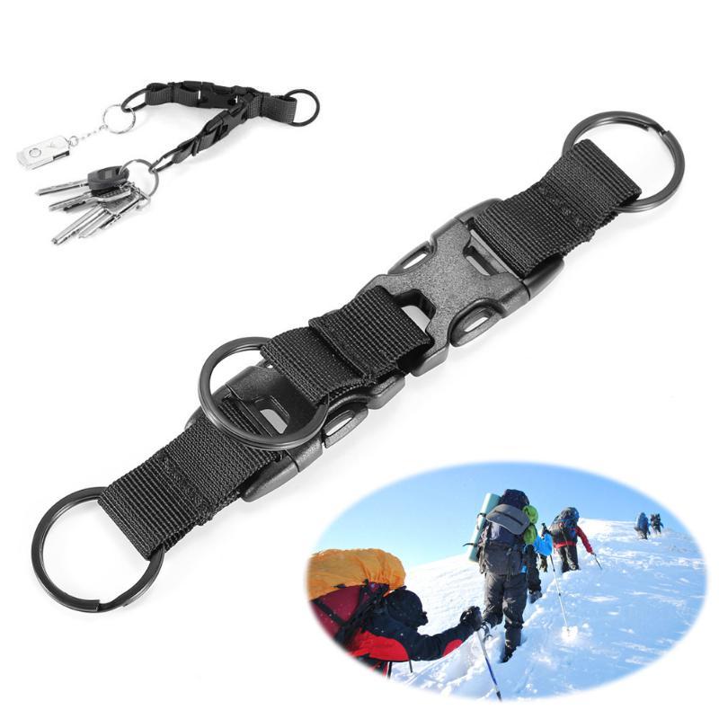 Outdoor Military Tactical Nylon Key Hook Webbing Molle 3 Snap Buckles Hiking Climbing Mini Key Chain Multi-purpose Tool