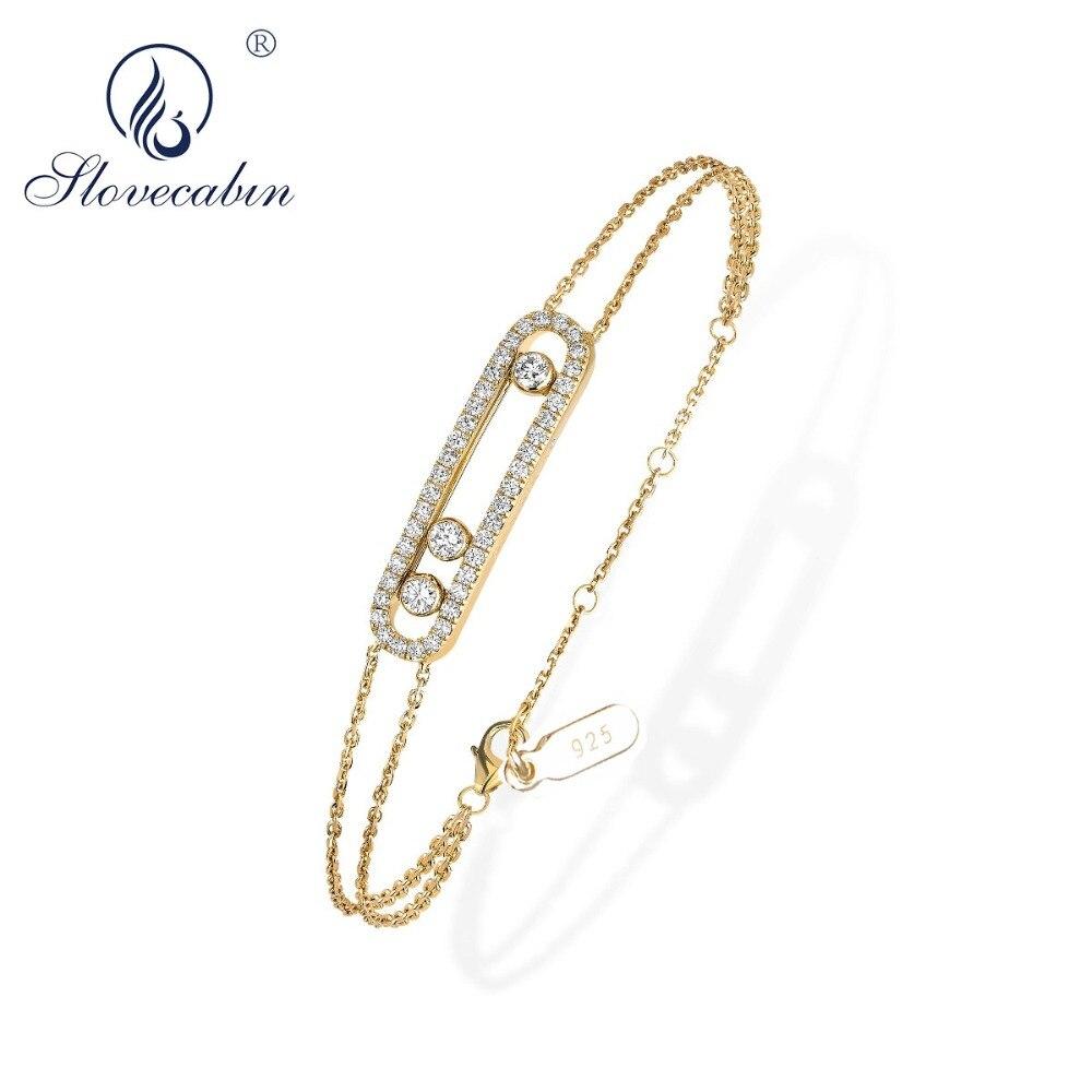 Slovecabin réel 100% 925 en argent Sterling mouvement Classique pavé de Zircon mouvement libre Bracelet France marque Bijoux Femme Bijoux
