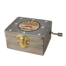 Classical Exquisite Musical Hand Crank Music Box Movement Square Vintage Wooden Gift