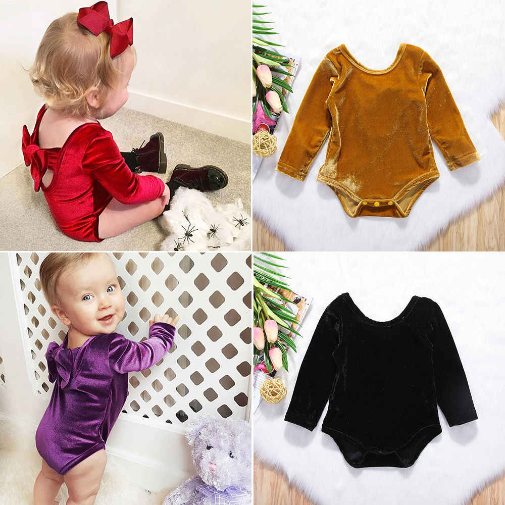 Pop Toddler Baby Girl Bowknot Casual Solid Long Sleeve Bodysuit Play Jumpsuit Clothes Active Outfits 0-24M