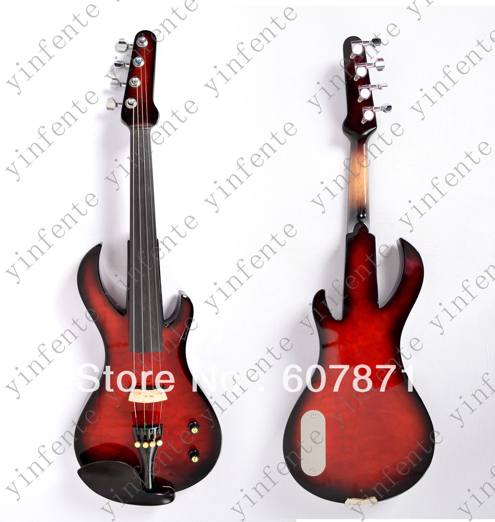 New 4 string 4/4 Electric violin Solid wood hand Guitar head style 4 4 violin neck maple wood hand carve sheep head master yinfente 10 string