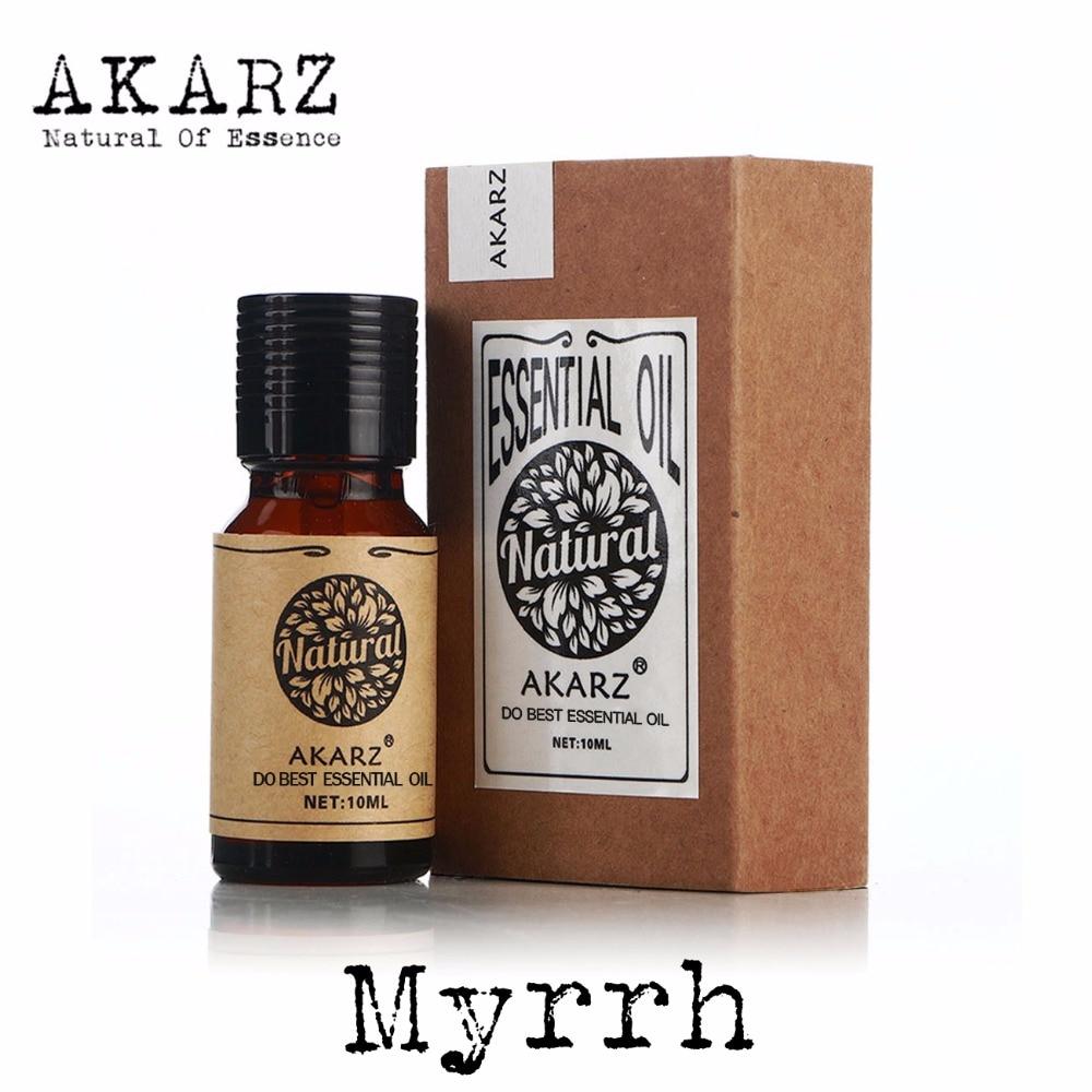AKARZ Famous brand natural Myrrh Oil sterilization Inhibit skin inflammation Remove beriberi Myrrh essential Oil frankincense and myrrh 4x6 pillar candles