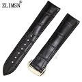 ZLIMSN 20mm 22mm BLACK Watchbands Genuine Leather Watch Bands Brand Buckle Black Leather Band Watch Bands Relojes Hombre 2017