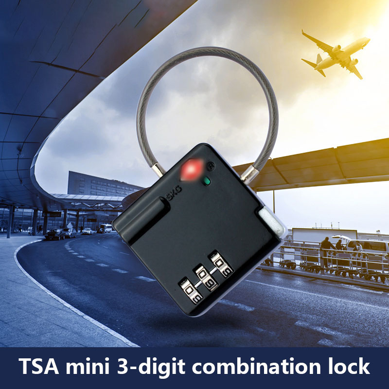 Resettable 3 Digit Combination TSA Lock with Wire Rope Travel Luggage Suitcase Padlock LCC77Resettable 3 Digit Combination TSA Lock with Wire Rope Travel Luggage Suitcase Padlock LCC77