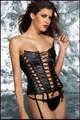 Black Steampunk Corset MZ2245 womens sexy and vintage punk black leather corset