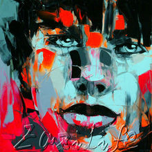 Palette knife portrait Face Oil painting christmas figure canva Hand painted Francoise Nielly wall Art picture201