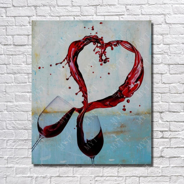 Wall Design Lover Cheers Glass Of Wine Painting Living Room Decor Oil On Sale