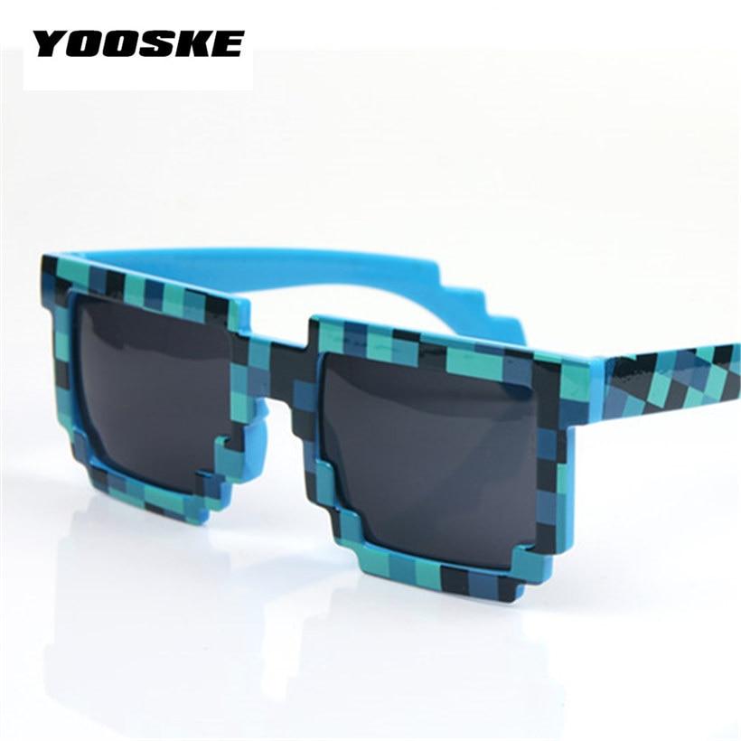 YOOSKE Glasses 8 bit Pixel Women Men Sunglasses Female Male Mosaic Sun Glasses Men s Women