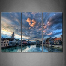 Framed Wall Art Pictures Buildings River Zurich Canvas Print City Posters With Wooden Frames For Home Living Room Decor
