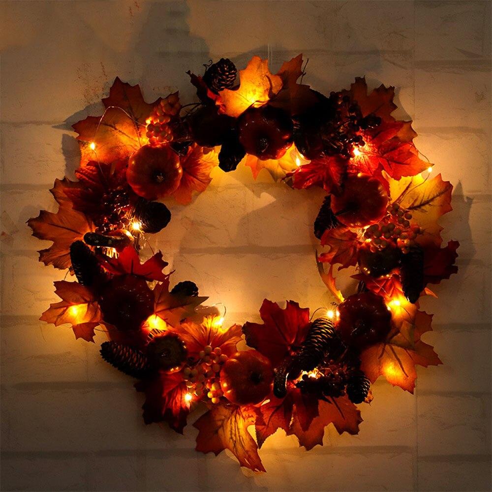 Halloween citrouille couronne récolte soie automne porte avant couronne porte avant décor avec riche automne couleurs Halloween décoration 2O0928