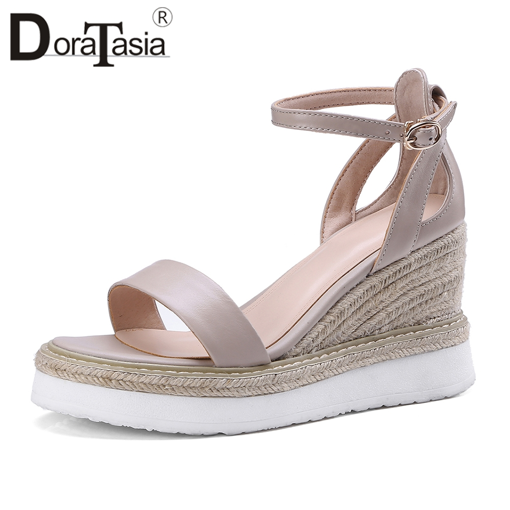 DoraTasia 2019 Summer Elegant Comfortable Wedges Sandals Women Genuine Leather Big Size 33 40 Shallow Concise