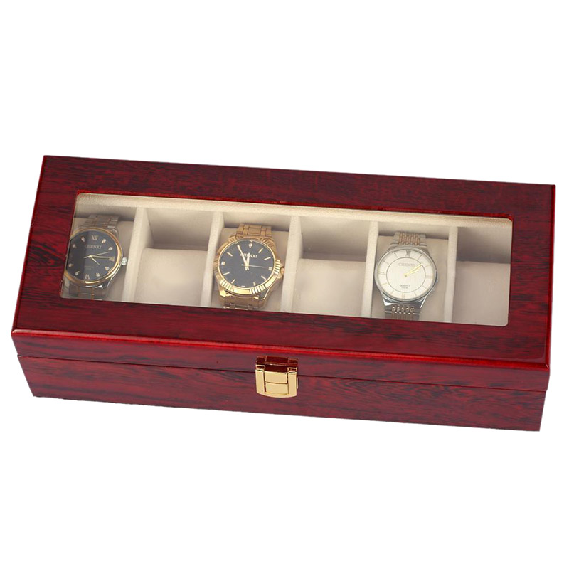 Image 4 - 6 Slots Red Color Wood Material Watch Boxes For Men or Shop Display Watches Practical Jewelry Watch Storage Organizer Cases-in Watch Boxes from Watches