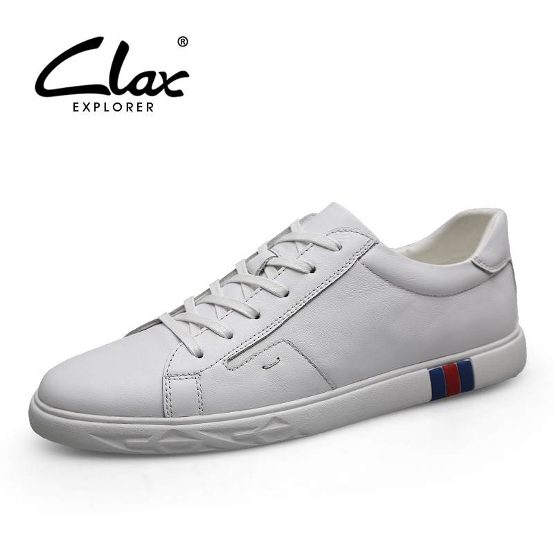 CLAX Men's Shoes Leather Summer Autumn Fashion White Casual Shoe Man Walking Shoe Sneakers Genuine Leather chaussure homme Soft цена