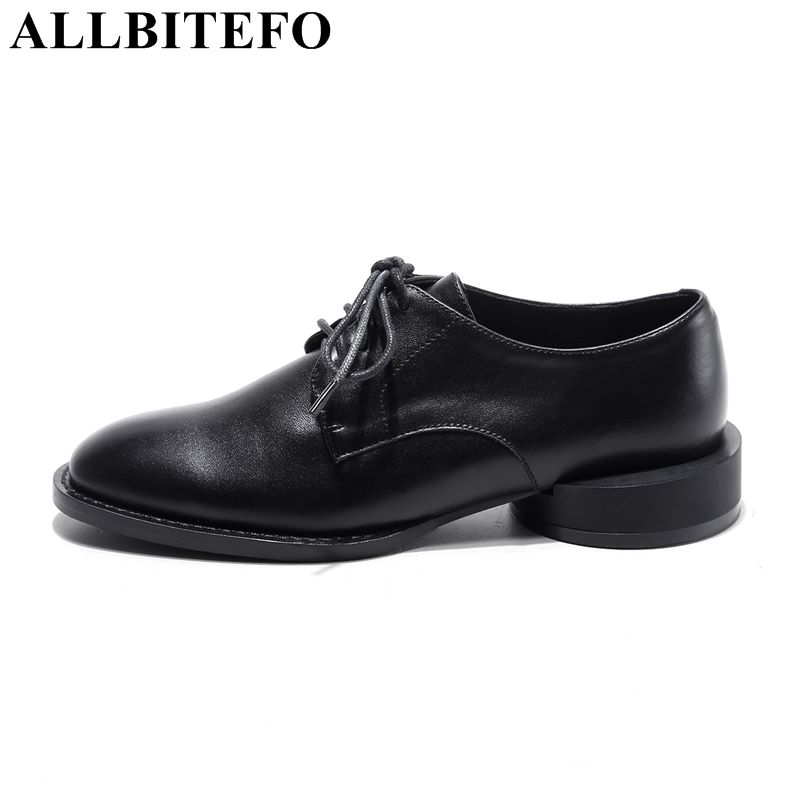ALLBITEFO High quality genuine leather women pumps Round square heel low heel cycle pumps girls ladies sexy pumps wedding shoesALLBITEFO High quality genuine leather women pumps Round square heel low heel cycle pumps girls ladies sexy pumps wedding shoes