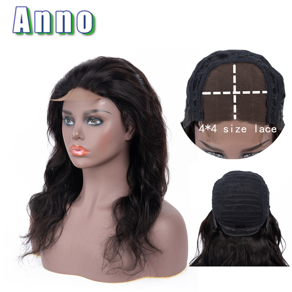 Annowig 4x4 Size Lace Front Body Wave Human Hair Wigs 10 22 Long Hair Wigs Non