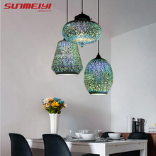 Shiny 3D LED Pendant Lights luster pendente For Bar Living room Kitchen Modern Glass Industrial Lamp decoração para casa