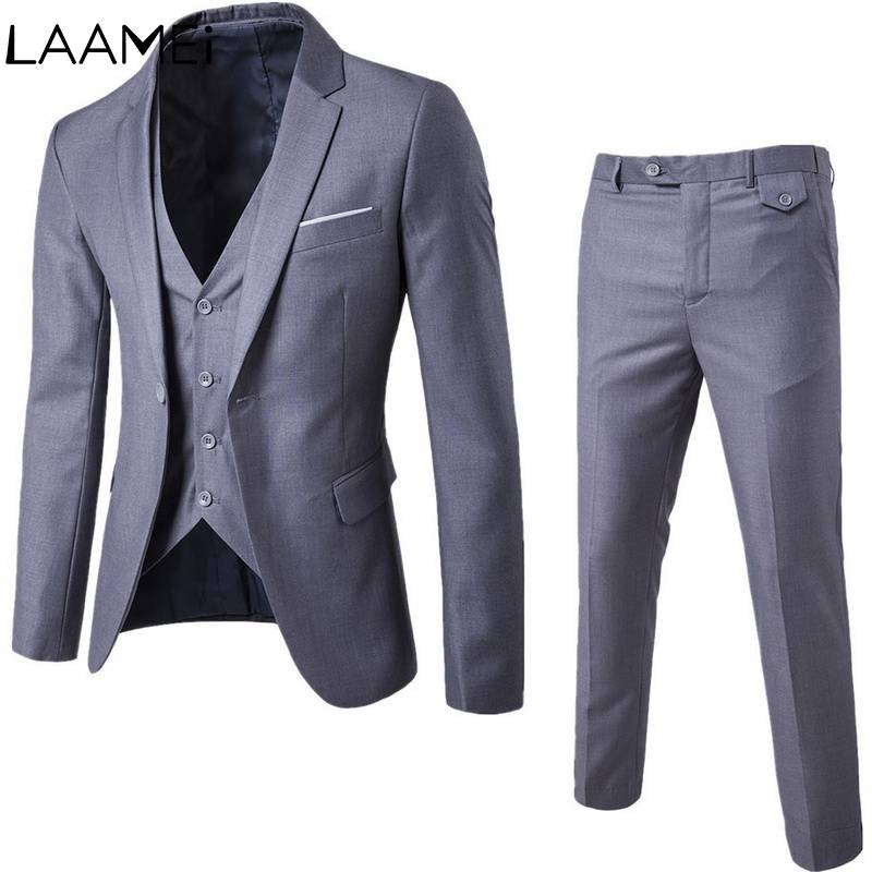 Laamei Business Casual Three-piece Suits Word Buckle Men Clothes 2019 Jacket Pants