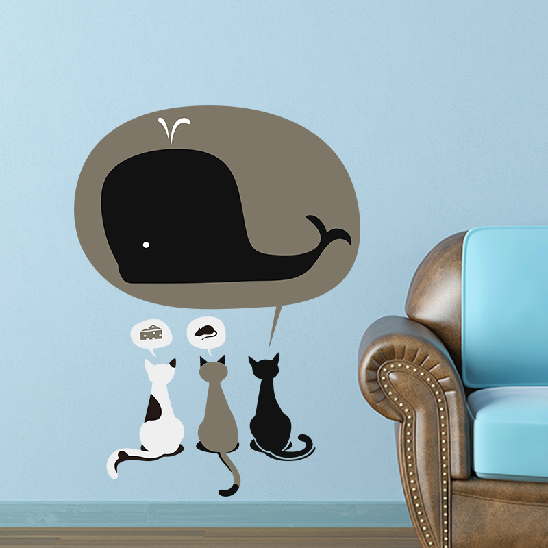 Funny Cat Dream Eating Cake Mouse Shark Wall Stickers For Kids Rooms Home  Decoration Wall Decals Nursery Room Decor Mural In Wall Stickers From Home  ...